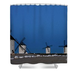 Shower Curtain featuring the photograph La Mancha Windmills by Heiko Koehrer-Wagner