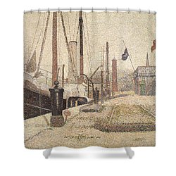 La Maria At Honfleur Shower Curtain by Georges Pierre Seurat