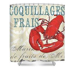 La Mer Shellfish 2 Shower Curtain by Debbie DeWitt