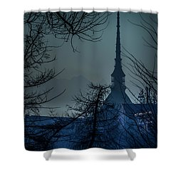 La Mole Antonelliana-blu Shower Curtain