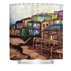 La Perla De Puerto Rico Shower Curtain by Janet Garcia