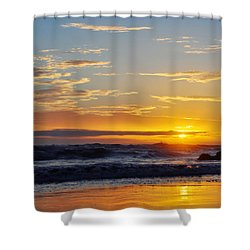 Shower Curtain featuring the photograph La Piedra Sunset Malibu by Kyle Hanson