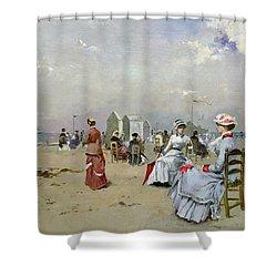 La Plage De Trouville Shower Curtain by Paul Rossert
