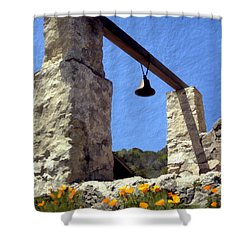 La Purisima Mission Bell Tower Shower Curtain by Kurt Van Wagner