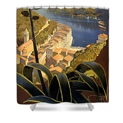 La Riviera Italienne Vintage Travel Poster Restored Shower Curtain