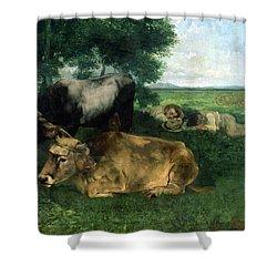 La Siesta Pendant La Saison Des Foins Shower Curtain by Gustave Courbet