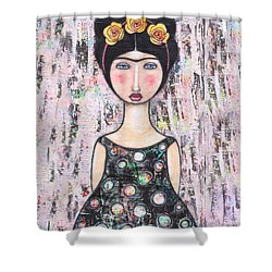 Shower Curtain featuring the mixed media La-tina by Natalie Briney