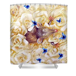Shower Curtain featuring the painting La Vie En Rose by Dina Dargo