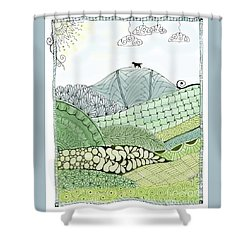 Labrador Mountain Doggie Doodle Shower Curtain