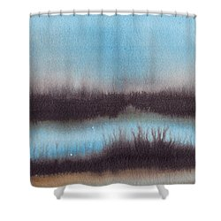 Shower Curtain featuring the painting Lac Au Soir by Marc Philippe Joly