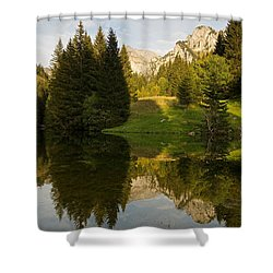 Lac De Fontaine Reflections Shower Curtain