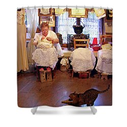 Lace Lady Of Burano Shower Curtain by Jennie Breeze