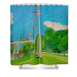 Lachine Canal Pencil Crayon Shower Curtain