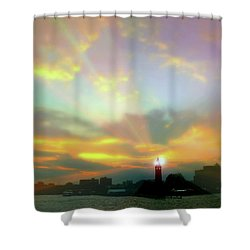 Shower Curtain featuring the photograph Lackawanna Transit Sunset by Diana Angstadt