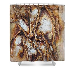 Shower Curtain featuring the mixed media Lacy Branches by Angela Stout