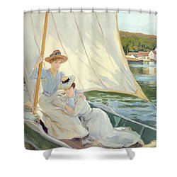 Ladies In A Sailing Boat  Shower Curtain by Jules Cayron