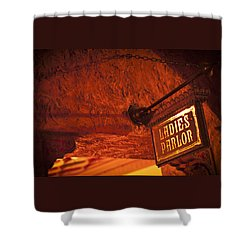 Shower Curtain featuring the photograph Ladies Parlor Sign by Carolyn Marshall