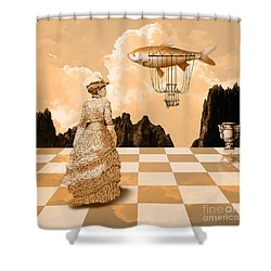 Shower Curtain featuring the drawing Lady by Alexa Szlavics