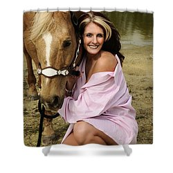 Lady And Her Horse 2 Shower Curtain
