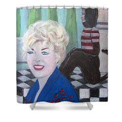 Lady And Monkey  Shower Curtain