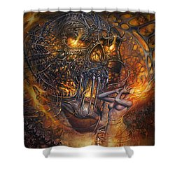 Lady And Skull Shower Curtain