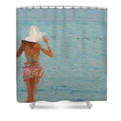 Lady At The Beach Shower Curtain
