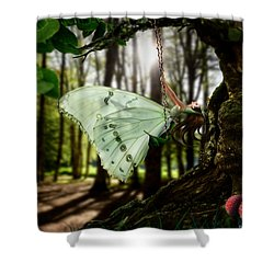 Lady Butterfly Shower Curtain