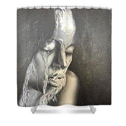 Lady Enjoying A Shower Shower Curtain