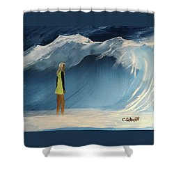 Lady Faces The Wave Shower Curtain
