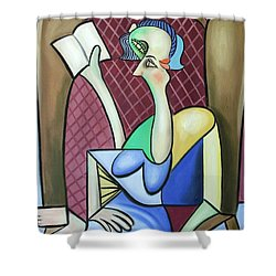 Lady In A Winged Back Chair Shower Curtain by Anthony Falbo
