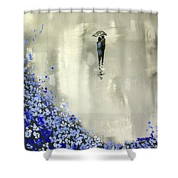 Lady In Blue Shower Curtain by Raymond Doward