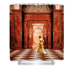 Lady In Golden Gown Walking Through Doorway Shower Curtain