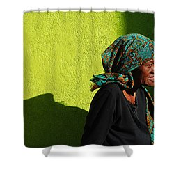 Lady In Green Shower Curtain by Skip Hunt