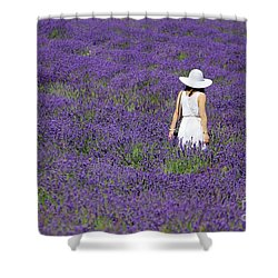 Lady In Lavender Field Shower Curtain