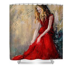 Lady In Red 2 Shower Curtain by Jennifer Beaudet