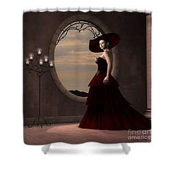 Lady In Red Dress Shower Curtain by Corey Ford