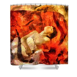 Lady In Red Shower Curtain by Gun Legler