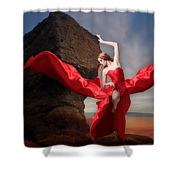 Shower Curtain featuring the mixed media Lady In Red by Marvin Blaine