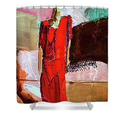 Shower Curtain featuring the painting Lady In Red by Nancy Merkle