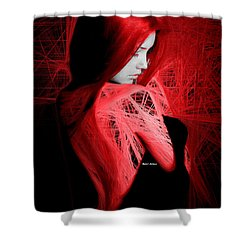 Shower Curtain featuring the digital art Lady In Red by Rafael Salazar