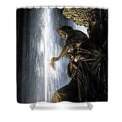 Lady In The Fountain Shower Curtain by Keith Allen