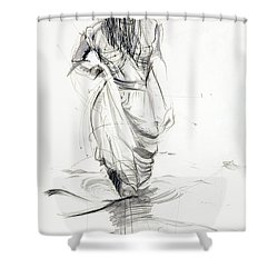 Lady In The Waters Shower Curtain by Kerryn Madsen-Pietsch