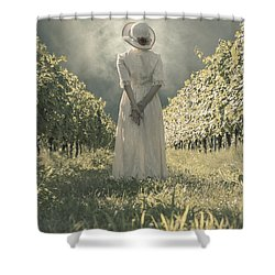 Lady In Vineyard Shower Curtain by Joana Kruse