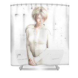 Lady In White Shower Curtain