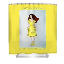 Lady In Yellow Shower Curtain by Don Pedro De Gracia