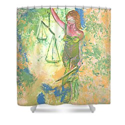 Lady Justice And The Man Shower Curtain by Peter Bonk