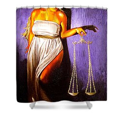 Lady Justice Long Scales Shower Curtain by Laura Pierre-Louis