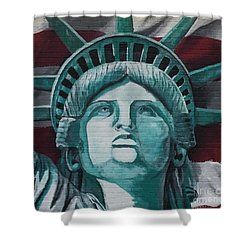 Shower Curtain featuring the painting Lady Liberty by Stan Tenney