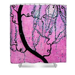 Shower Curtain featuring the mixed media Lady Luna by Natalie Briney