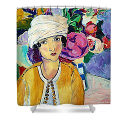 Lady Of Le Piviones Shower Curtain by Laura Botsford